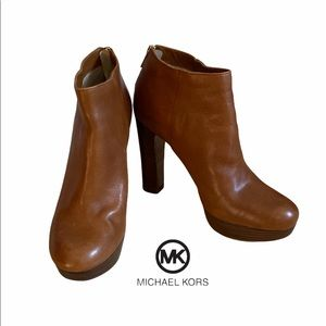 Michael Kors Lesly Booties Luggage Tan Boots 9